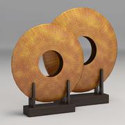 Florero de disco de hierro chapado en cobre modelo 3d