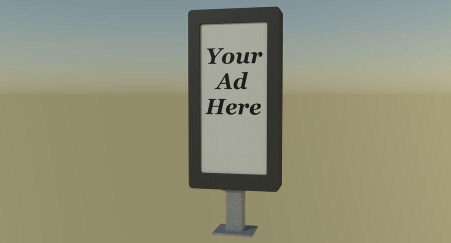 Panneau de publicité de rue un royalty-free 3d model - Preview no. 3