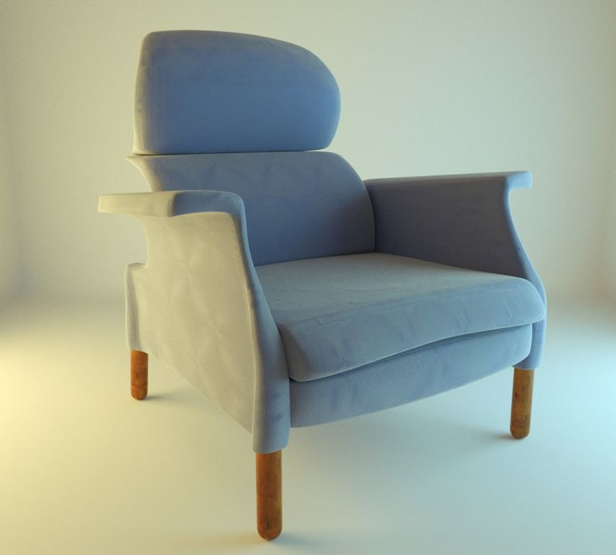 Fotel 19 niebieski royalty-free 3d model - Preview no. 5