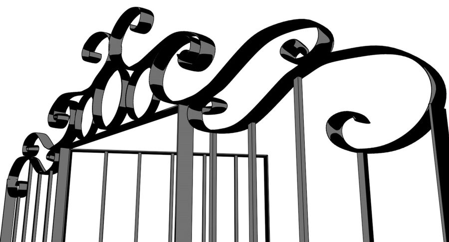 Portão da cerca de ferro royalty-free 3d model - Preview no. 5
