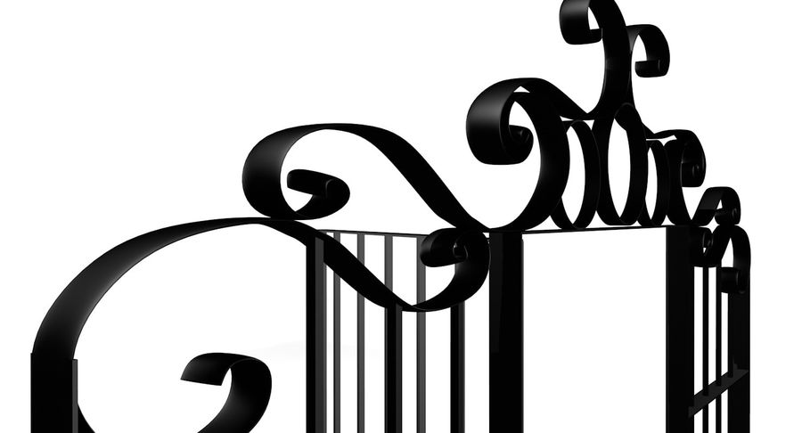 Portão da cerca de ferro royalty-free 3d model - Preview no. 4