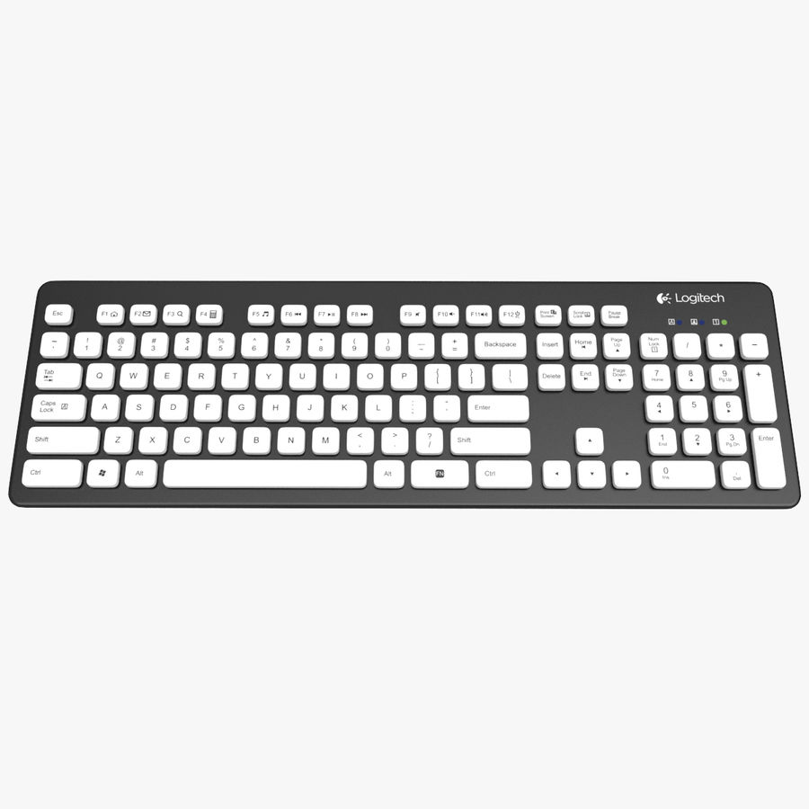 Logitech Washable Keyboard K310 royalty-free 3d model - Preview no. 3