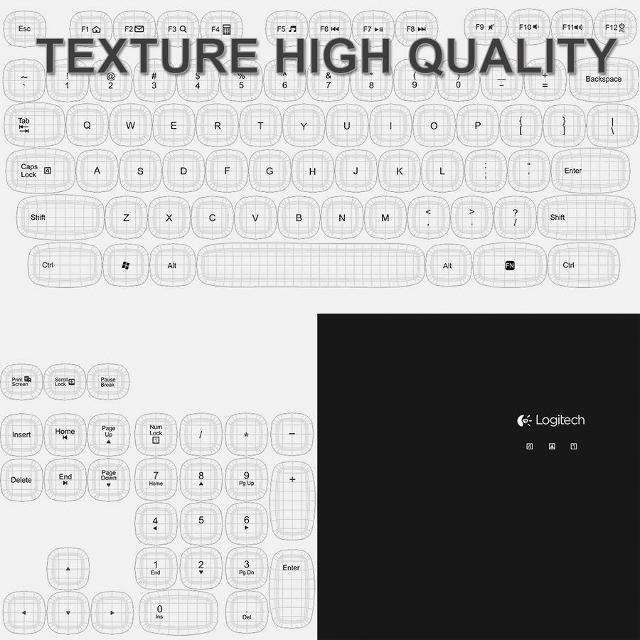 Logitech Washable Keyboard K310 royalty-free 3d model - Preview no. 31
