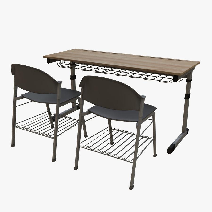 school desk royalty-free 3d model - Preview no. 4
