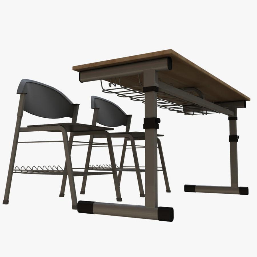 school desk royalty-free 3d model - Preview no. 6