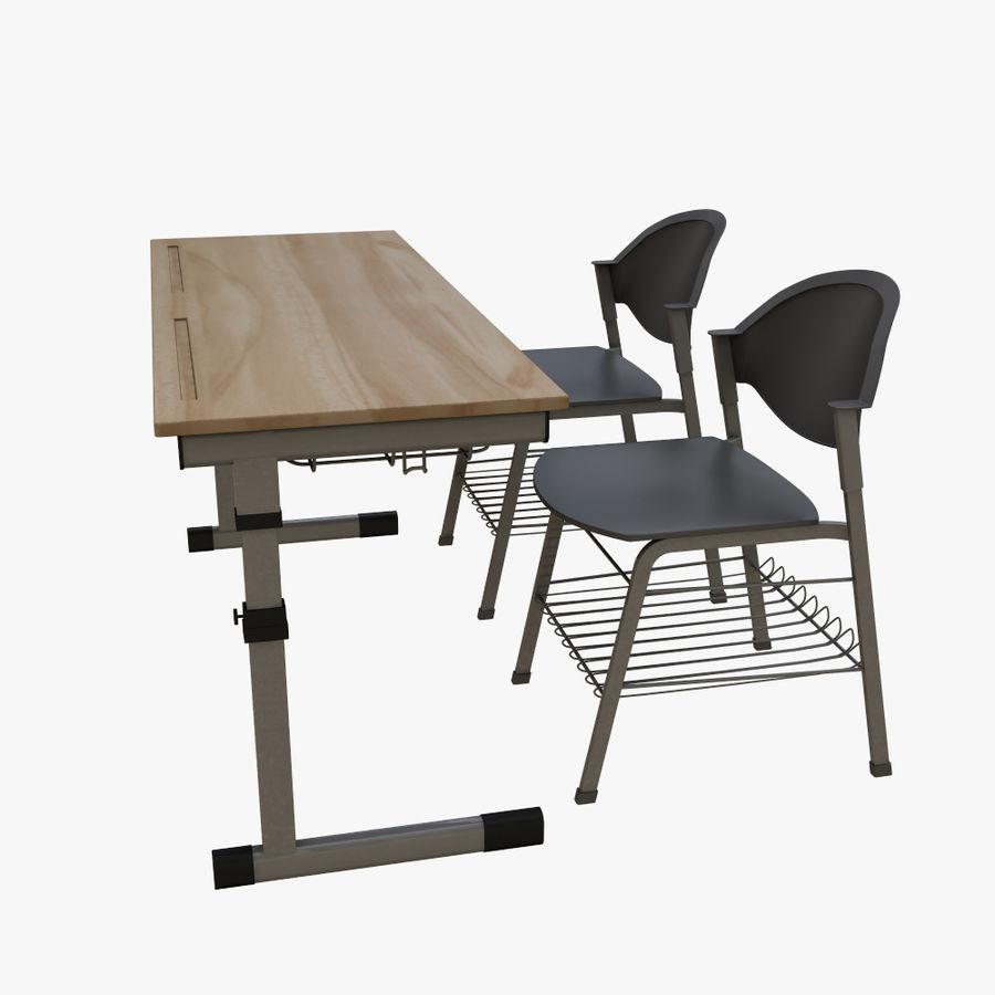 school desk royalty-free 3d model - Preview no. 2