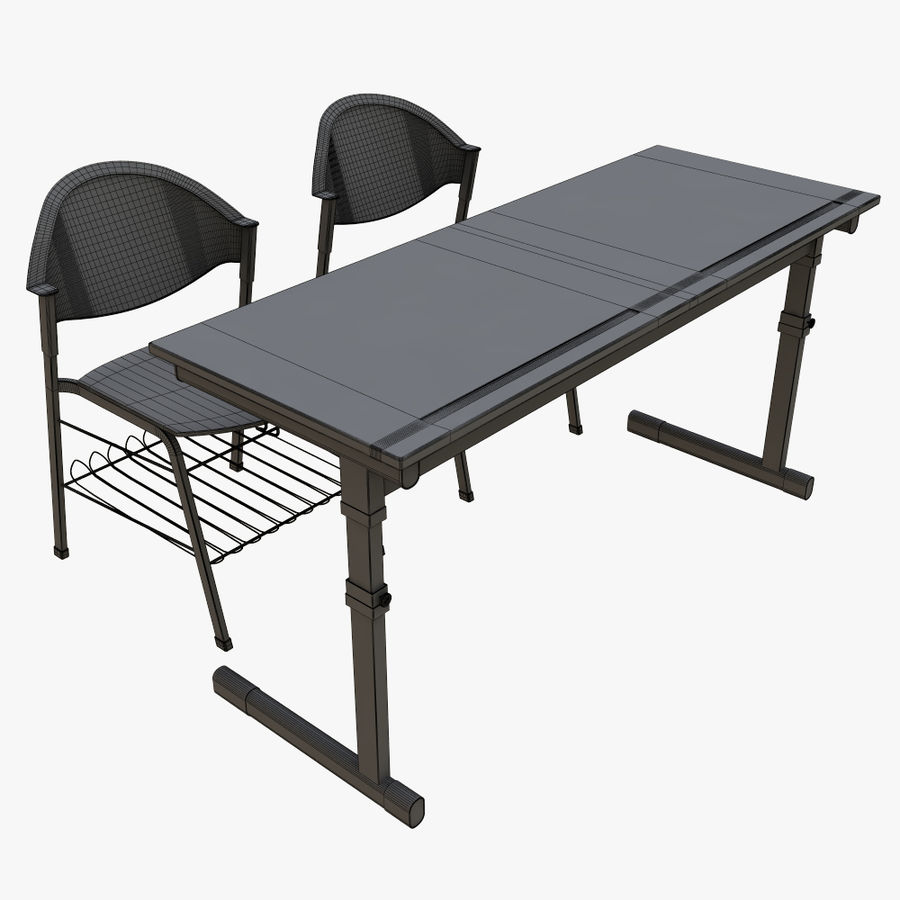 school desk royalty-free 3d model - Preview no. 10