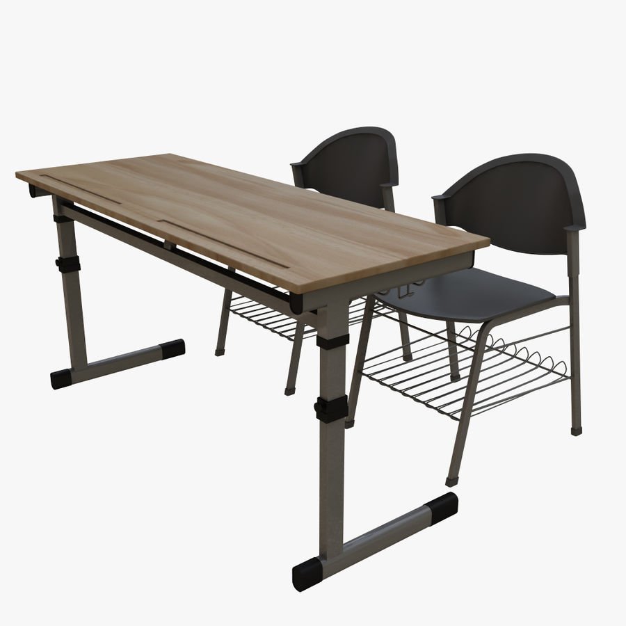school desk royalty-free 3d model - Preview no. 1