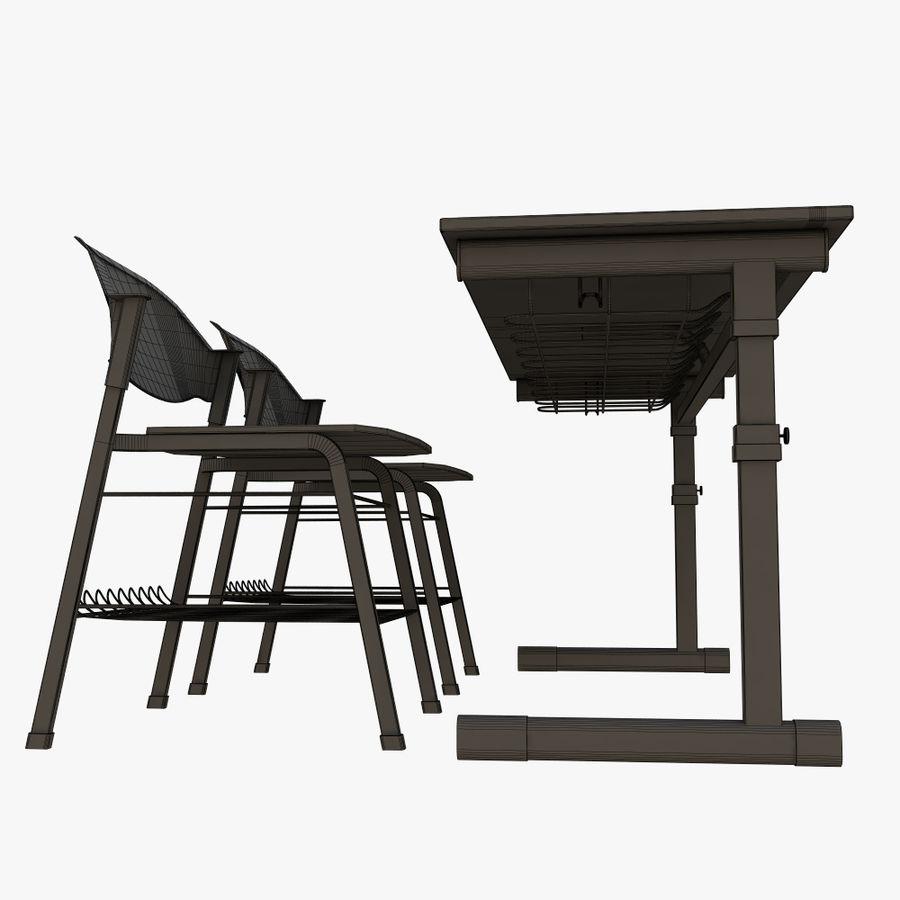school desk royalty-free 3d model - Preview no. 12