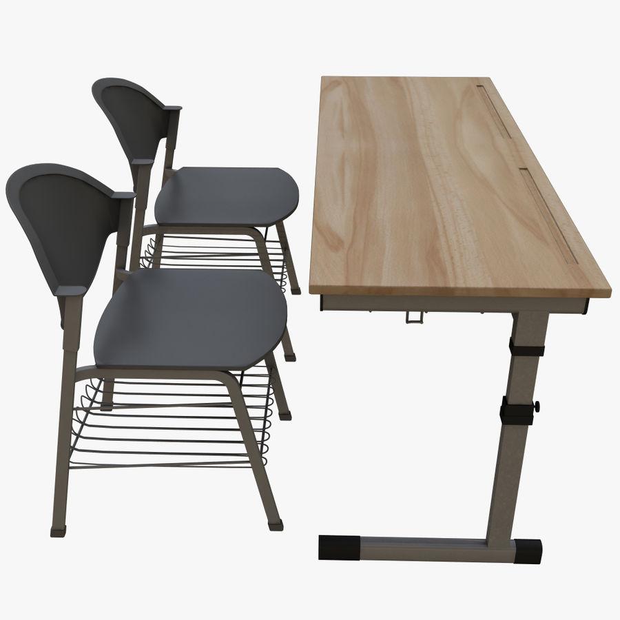 school desk royalty-free 3d model - Preview no. 9