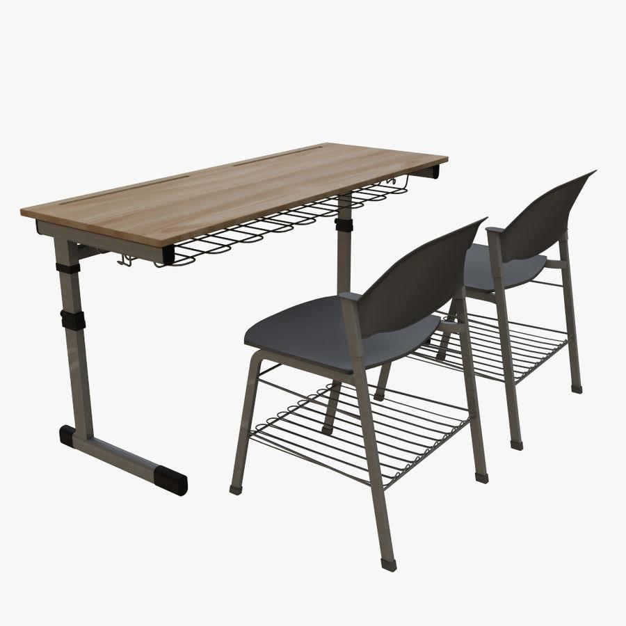 school desk royalty-free 3d model - Preview no. 3