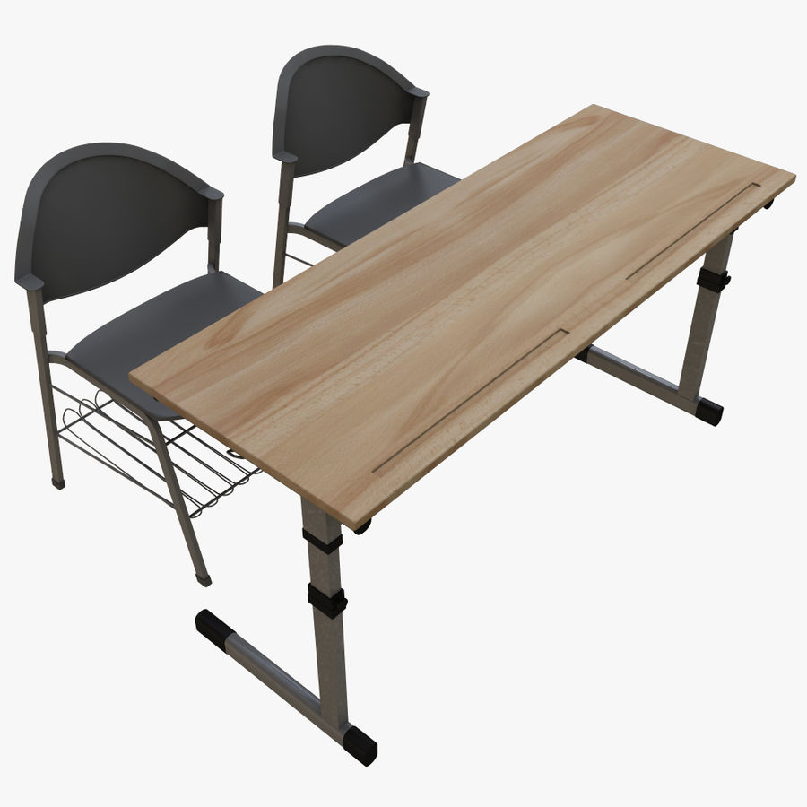 school desk royalty-free 3d model - Preview no. 5