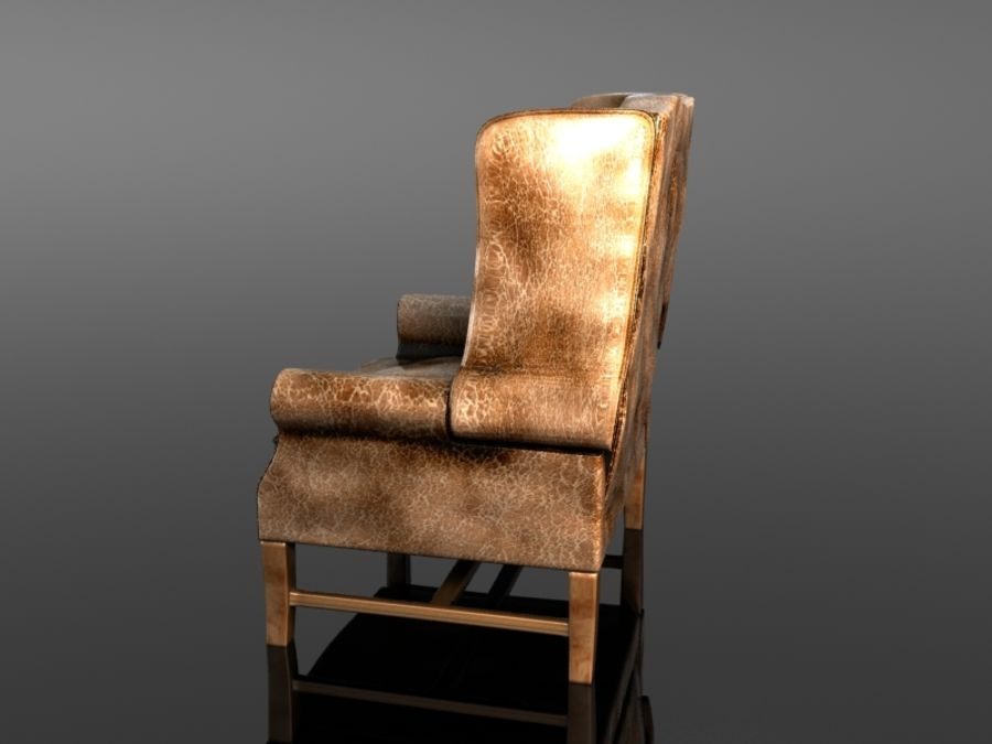 Pottery Barn - Leather Armchair royalty-free 3d model - Preview no. 5