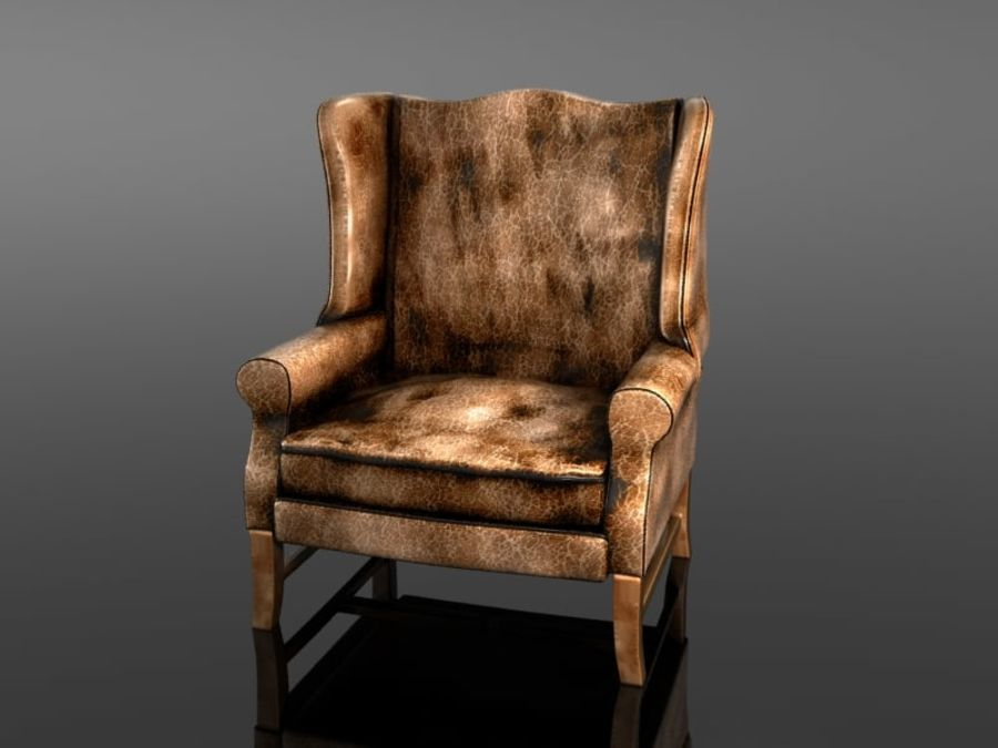 Pottery Barn - Leather Armchair royalty-free 3d model - Preview no. 6