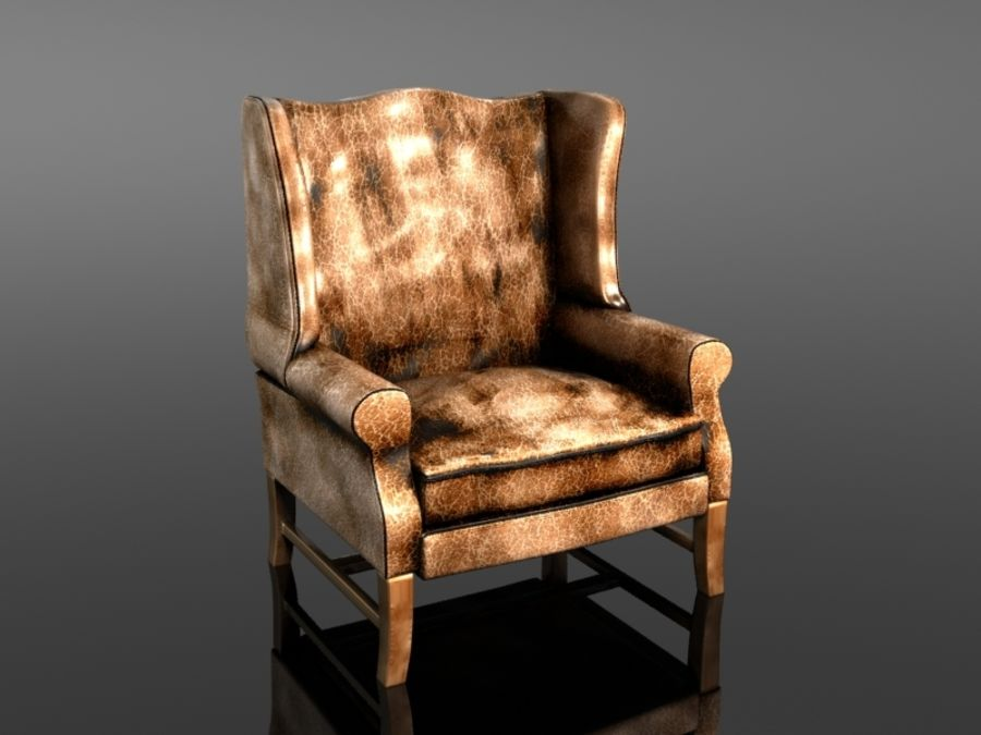 Pottery Barn - Leather Armchair royalty-free 3d model - Preview no. 2