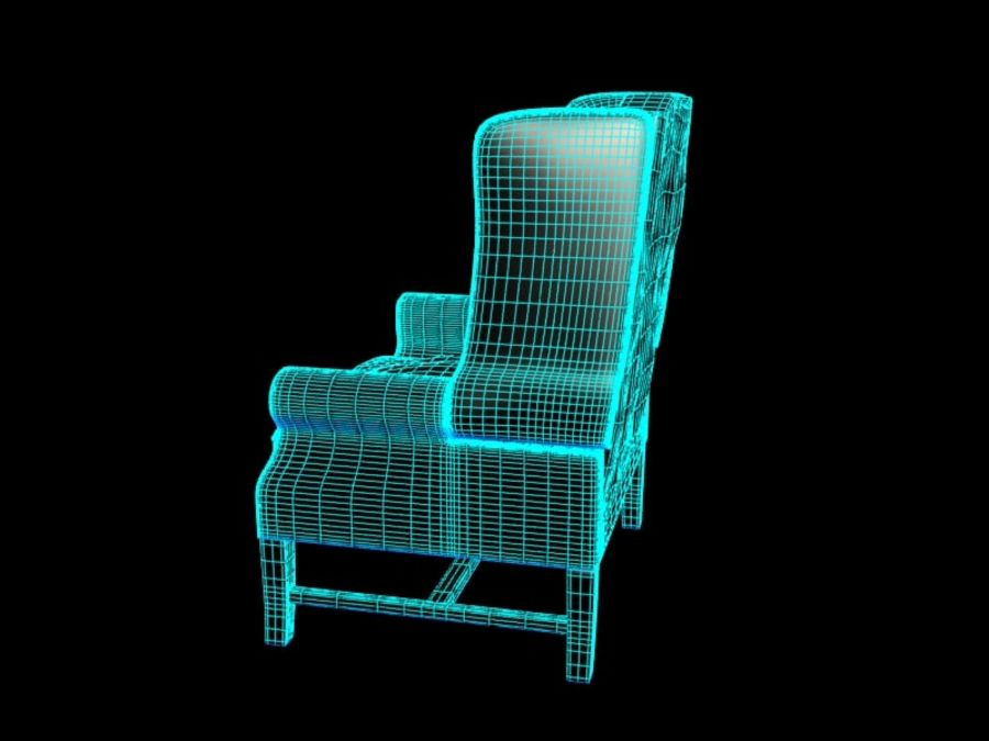 Pottery Barn - Leather Armchair royalty-free 3d model - Preview no. 11