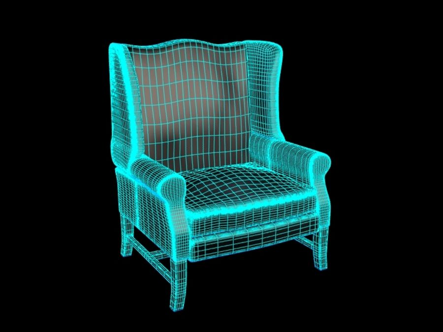 Pottery Barn - Leather Armchair royalty-free 3d model - Preview no. 8