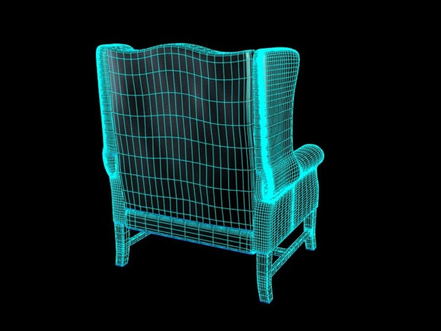 Pottery Barn - Leather Armchair royalty-free 3d model - Preview no. 10