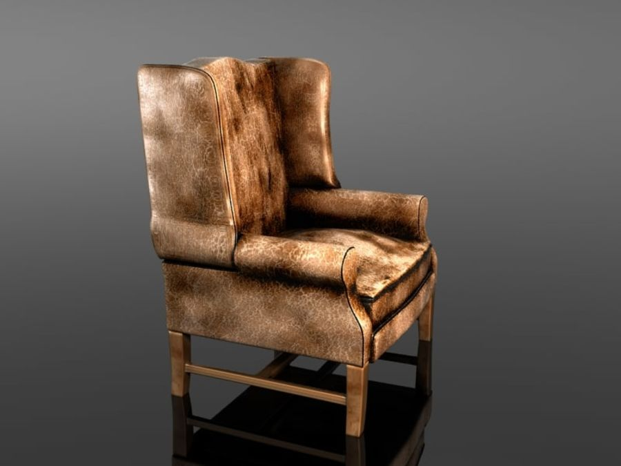 Pottery Barn - Leather Armchair royalty-free 3d model - Preview no. 3
