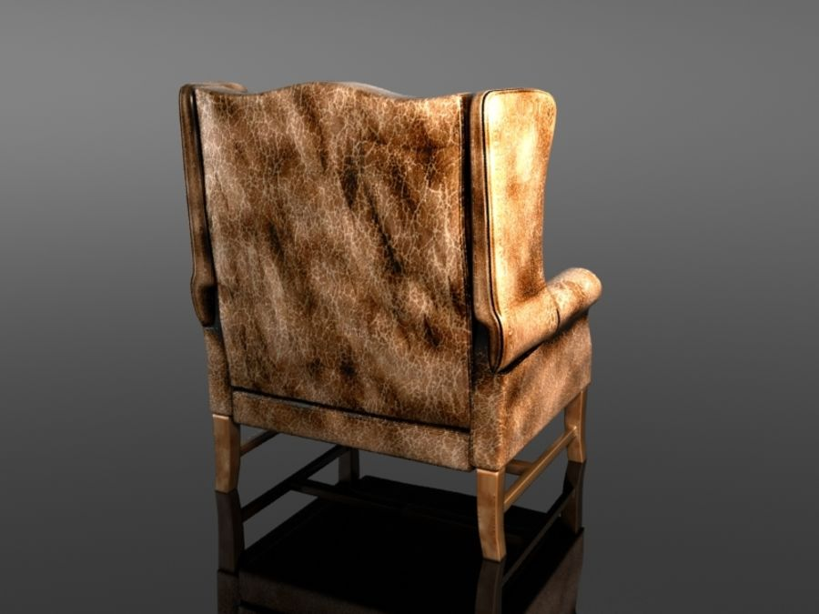 Pottery Barn - Leather Armchair royalty-free 3d model - Preview no. 4