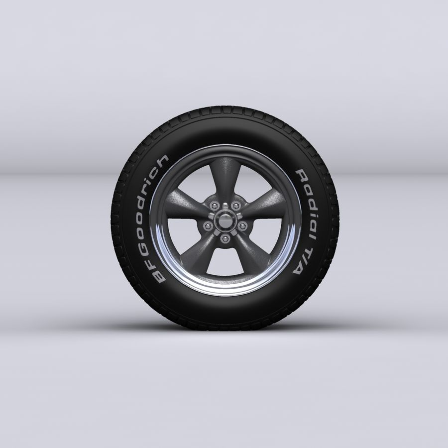Vintage alloy wheel royalty-free 3d model - Preview no. 5