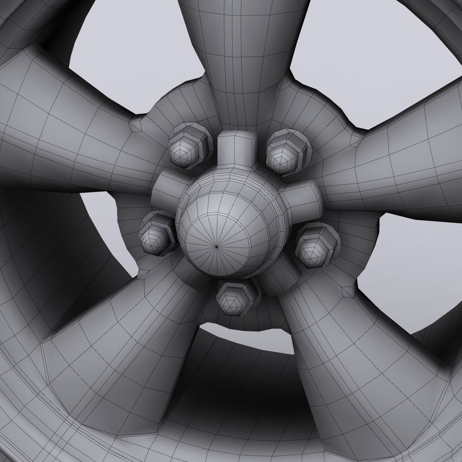 Vintage alloy wheel royalty-free 3d model - Preview no. 10
