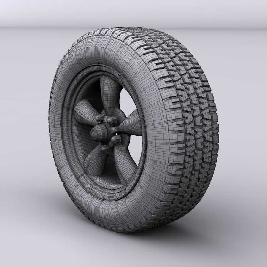 Vintage alloy wheel royalty-free 3d model - Preview no. 7