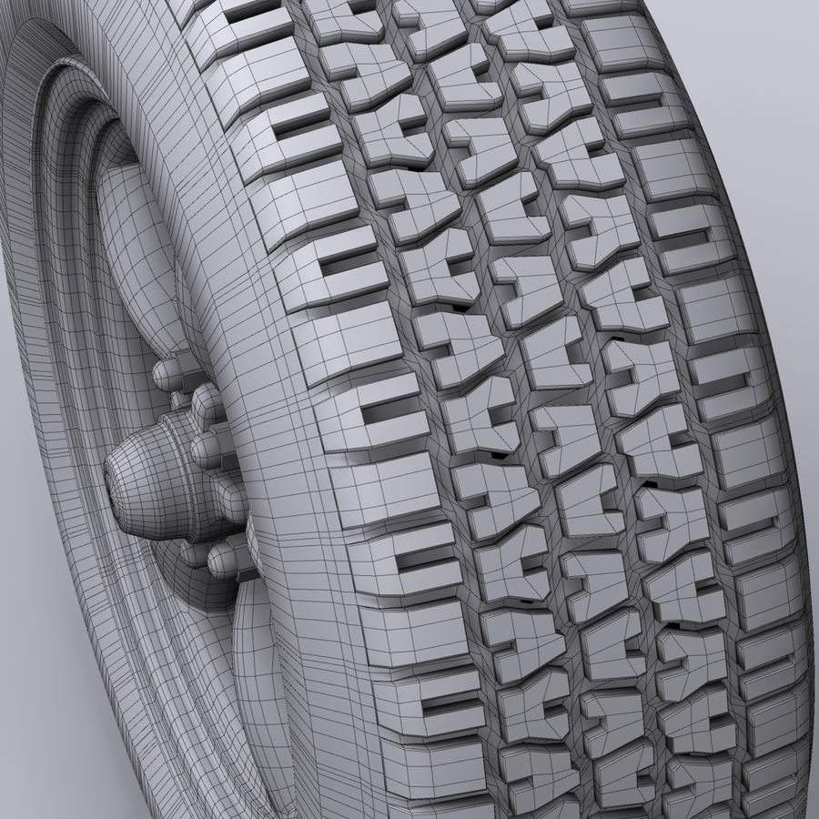 Vintage alloy wheel royalty-free 3d model - Preview no. 8