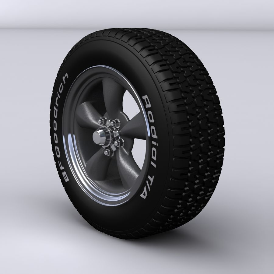 Vintage alloy wheel royalty-free 3d model - Preview no. 2