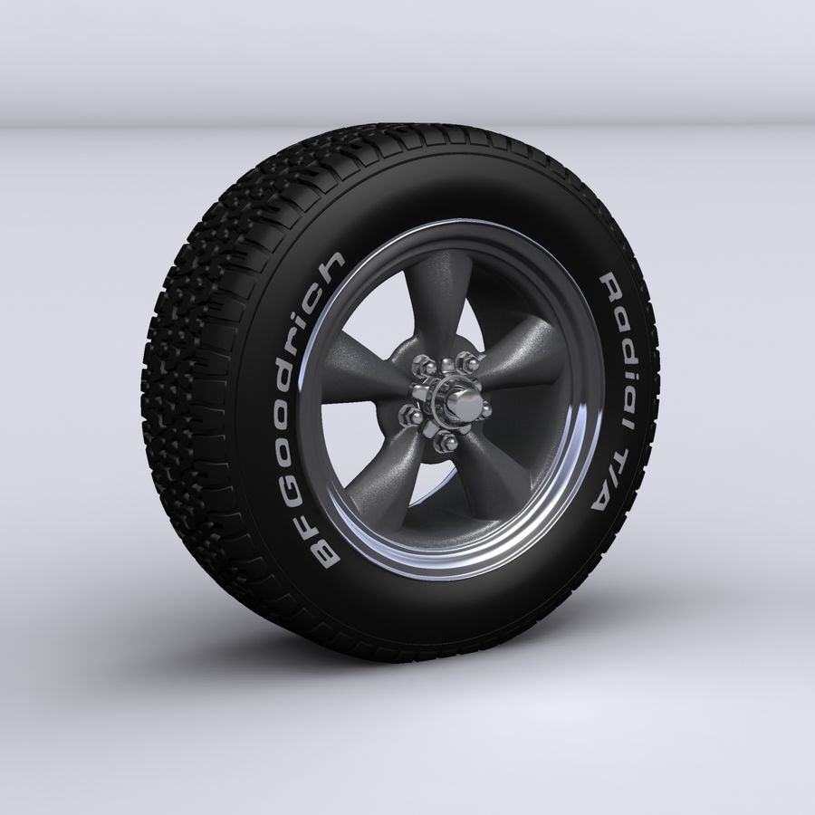 Vintage alloy wheel royalty-free 3d model - Preview no. 1