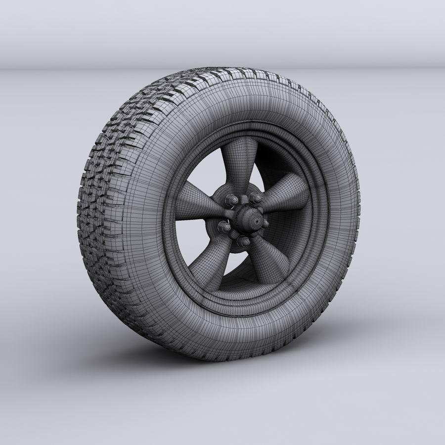 Vintage alloy wheel royalty-free 3d model - Preview no. 6
