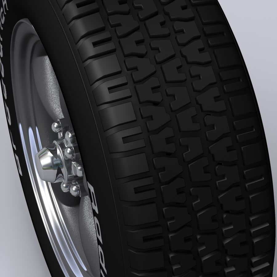 Vintage alloy wheel royalty-free 3d model - Preview no. 4