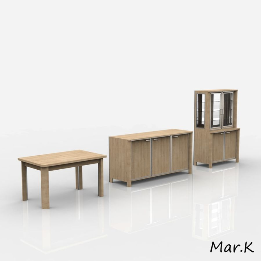 dining room furniture royalty-free 3d model - Preview no. 1