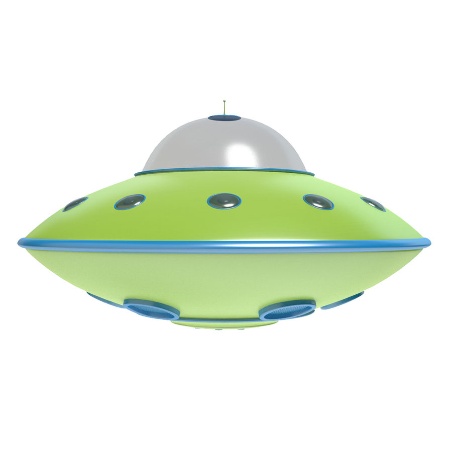Cartoon Flying Saucer 2 royalty-free 3d model - Preview no. 3
