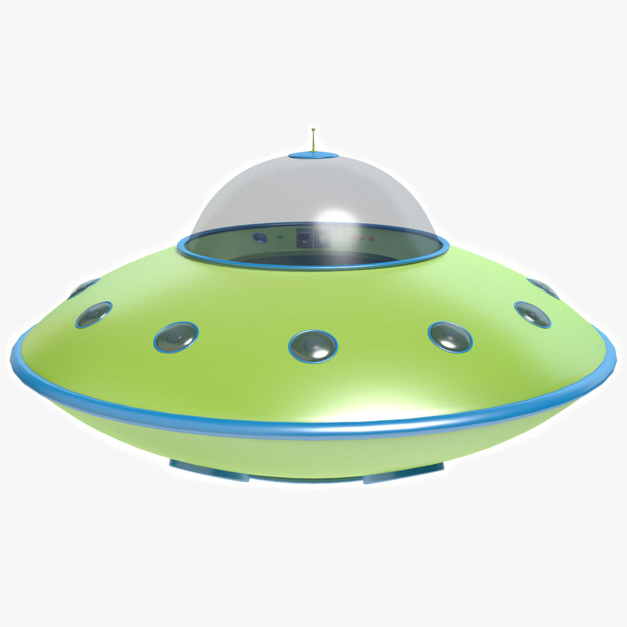 Cartoon Flying Saucer 2 royalty-free 3d model - Preview no. 1