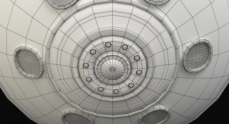 Cartoon Flying Saucer 2 royalty-free 3d model - Preview no. 12