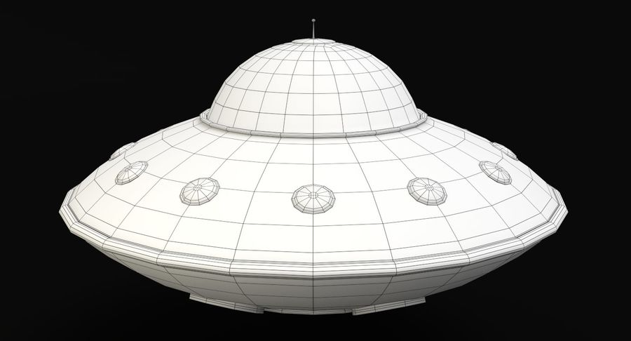Cartoon Flying Saucer 2 royalty-free 3d model - Preview no. 9