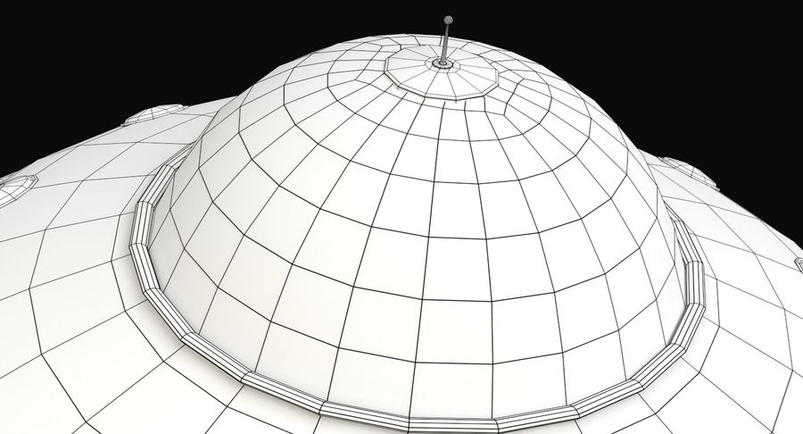 Cartoon Flying Saucer 2 royalty-free 3d model - Preview no. 10