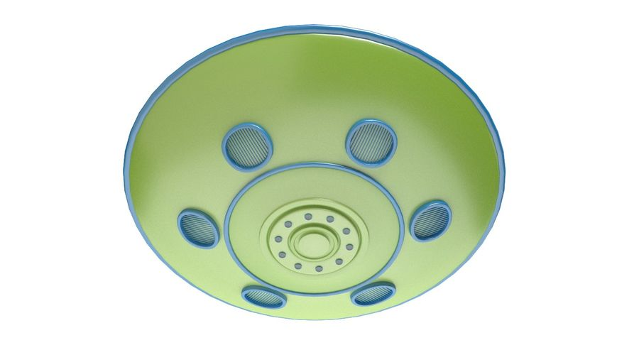 Cartoon Flying Saucer 2 royalty-free 3d model - Preview no. 5