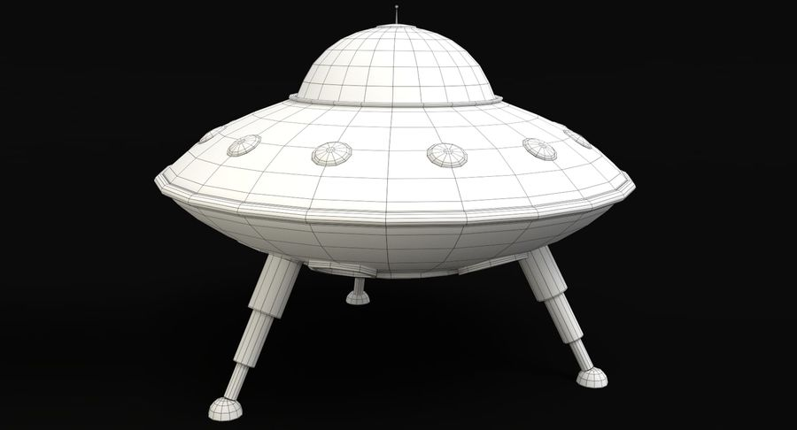 Cartoon Flying Saucer royalty-free 3d model - Preview no. 9