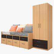Bedroom furniture bed cabinet brown mattress cushions gray white orange 3d model