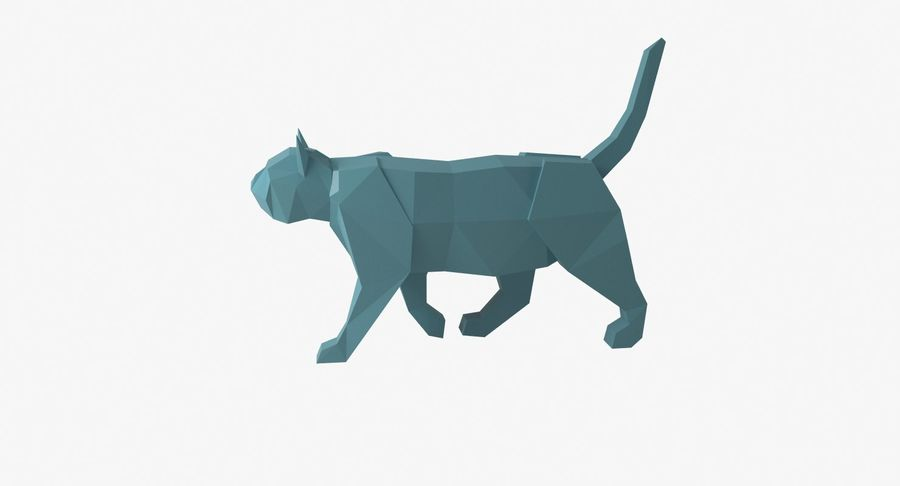 Paper Cat royalty-free 3d model - Preview no. 2