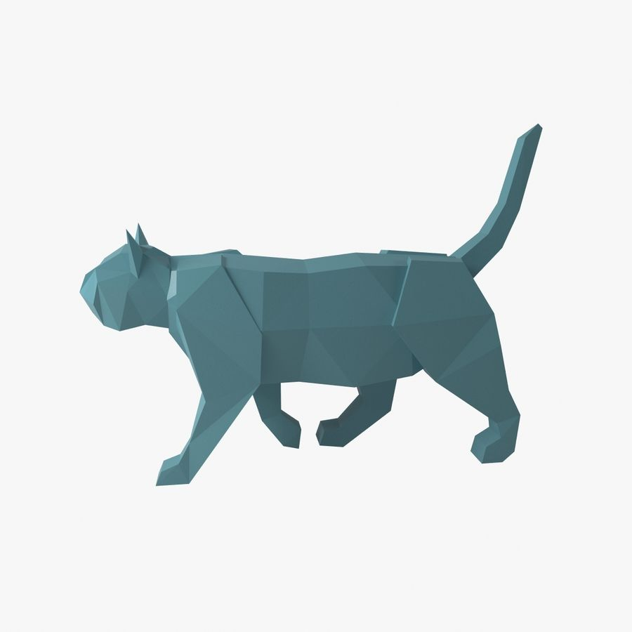 Paper Cat royalty-free 3d model - Preview no. 1