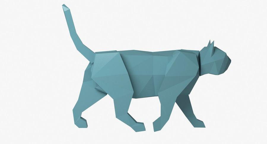Paper Cat royalty-free 3d model - Preview no. 6