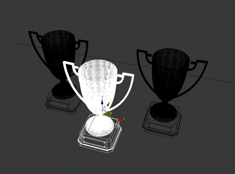 High Quality Gold, Silver and Bronze Award Cups royalty-free 3d model - Preview no. 9