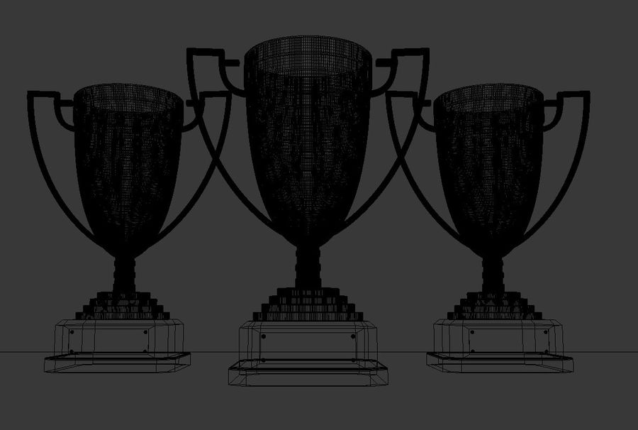 High Quality Gold, Silver and Bronze Award Cups royalty-free 3d model - Preview no. 8