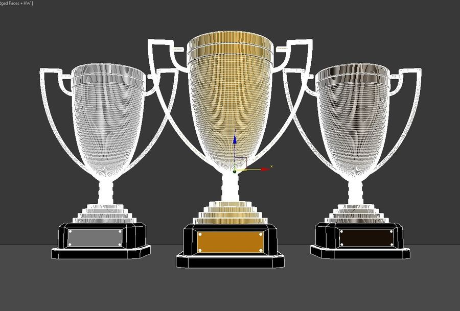 High Quality Gold, Silver and Bronze Award Cups royalty-free 3d model - Preview no. 6