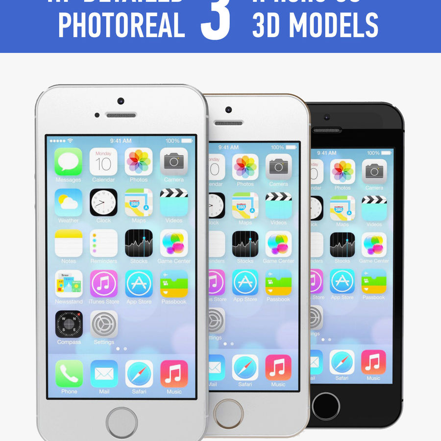 Apple iPhone 5s royalty-free 3d model - Preview no. 1