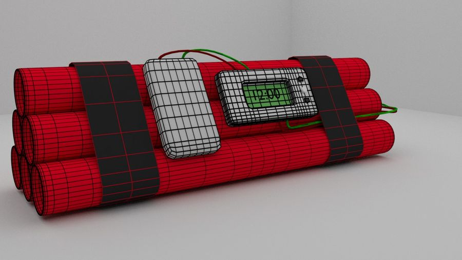timed explosives royalty-free 3d model - Preview no. 3