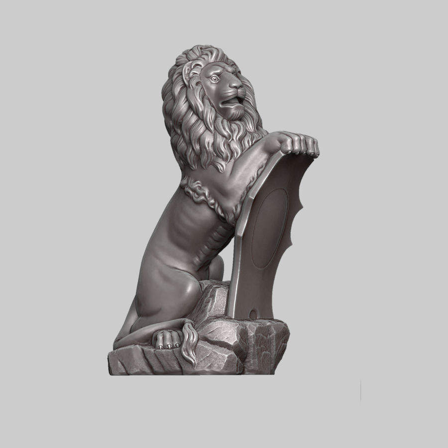 Lion Sculpture royalty-free 3d model - Preview no. 3